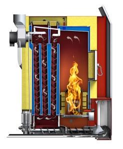 Sección caldera de biomasa ECO-PK. Hargassner