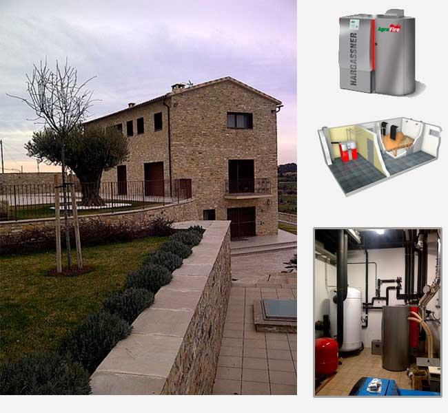Instalación de caldera de biomasa en casa unifamiliar. Montpalau