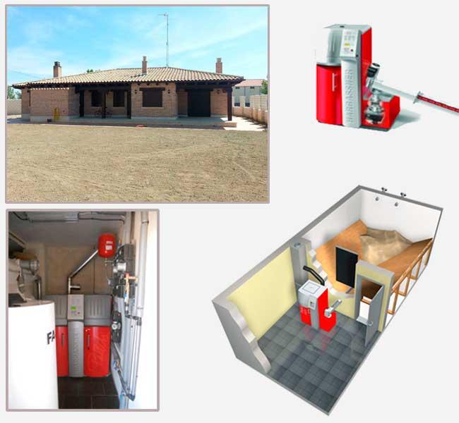 Instalación de caldera de biomasa en casa unifamiliar. Palencia